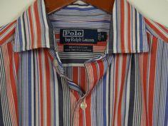 Polo Ralph Lauren Westerton Size Medium Striped Shirt Long Sleeve Red White Blue