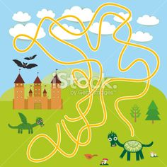 labyrinth game Castle, fairytale landscape dragons bats for Preschool Children. Royalty Free Stock Vector Art Illustration