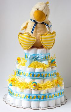 Diaper Cake GUND Baby Duck Baby Shower Gift  Boy
