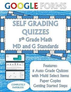 Geometry and Measurement 5th Grade Math Assessments Google Forms - Includes 8 different quizzes based on Line Plots, measurement conversions (metric and customary), and Volume! 10 questions each, including multiple choice and select all that apply!