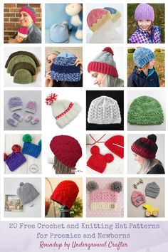 8e7110e892b 20 Free  Crochet and  Knitting Patterns for Preemie and Newborn Hats via  Underground Crafter