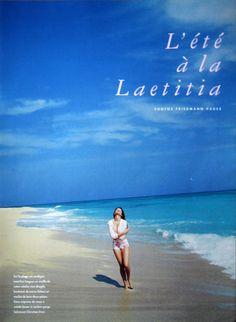 """Magazine : Marie Claire France, June 1995 Editorial : """"L'été à la Laetitia"""" Photographer : Friedmann Hauss Model : Laetitia Casta"""