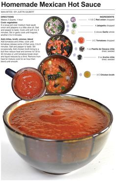 Tasty sauce - Behind the Bites: Homemade Mexican Hot Sauce Chili Sauce, Chutneys, Mexican Dishes, Mexican Food Recipes, Sauce Au Poivre, Dips, Hot Sauce Recipes, Mexican Hot Sauce Recipe, Salads