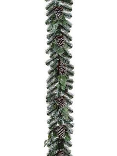 Felices Pascuas Collection 6' x 12 inch Artificial Flocked Pine Cone and Eucalyptus Christmas Garland - Unlit