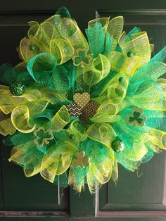 St. Patrick's Day Deco Mesh Wreath by FunWithWreaths