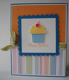267- PENNY TOKENS STAMPIN SPOT - Another Stampin' Up! Cupcake Card. Fun and fast to make with Scallop Square die cut.
