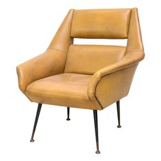 Italian Modern Brass, Enamel and Leather Armchair, Style of Gio Ponti | From a unique collection of antique and modern armchairs at https://www.1stdibs.com/furniture/seating/armchairs/