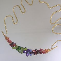 Rainbow Gemstone Encrusted Necklace Gold Filled by bellajewelsII