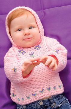Free Knitting Pattern - Baby Sweaters: Perfect Posy Hoodie