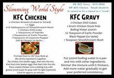 Kfc chicken nd kfc gravy Slimming World Fakeaway, Slimming World Dinners, Slimming World Recipes Syn Free, Slimming World Syns, Slimming Eats, Kfc Gravy Recipe, Kfc Chicken Recipe, Chicken Gravy, Chicken Sauce