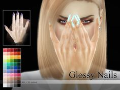Pralinesims' Glossy Nails N01 http://www.thesimsresource.com/artists/Pralinesims/downloads/details/category/sims4-accessories-female-rings/title/glossy-nails-n01/id/1327608/