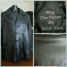 EUC L STAR WARS BLACK LEATHER JACKET COAT MENS ROGUE 1 MAY THE FORCE BE WITH YOU #StarWars #BasicCoat