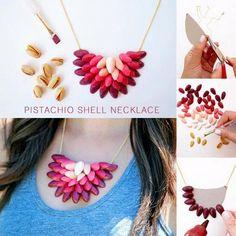 DIY Pistachio Shell Necklace