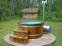 Wood hot tub, wood fired hot tub, wood hot tub kits, wooden hot tub kit from HotTubSauna