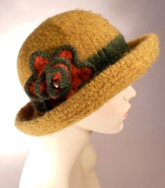 Harvest Gold Felted Hat with Brim by yoursbydesign on Etsy, $69.00