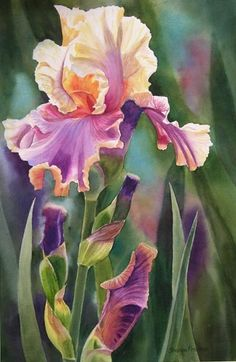 Irises , negative painting.