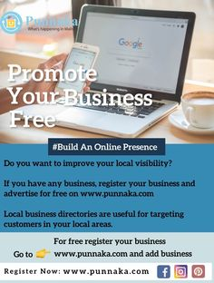 Do you want to improve your local visibility? If you have any business, register your business and advertise for free on www.punnaka.com Local business directories are useful for targeting customers in your local areas. For free register your business Go to www.punnaka.com and add business Target Customer, Advertising, Ads, Promote Your Business, Improve Yourself, Promotion, Free