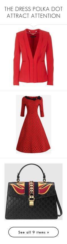 THE DRESS POLKA DOT ATTRACT ATTENTION by m-kints on Polyvore featuring women's fashion, dresses, red skater dresses, collar dress, party dresses, formal skater dress, skater dress, bags, handbags and gucci