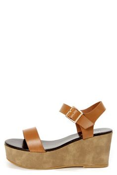 Stino 1 Tan Single Strap Flatform Wedge Sandals @Charlee Mutch Mutch Mutch Vawter