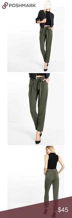 Express jersey sash pant - olive green Express jersey sash pants in olive green. Features a mid rise, banded elastic waist, pleated front, and tie belt. Perfect slip on style! Express Pants