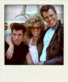 Danny, Sandy and Kenickie, 'Grease', 1978.