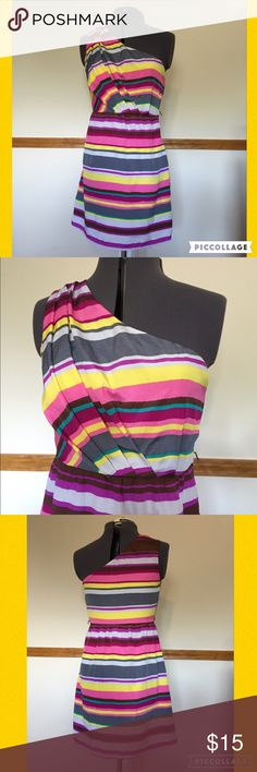 """Date Night Ready! One Shoulder Stripe Summer Dress One Shoulder Stripe Summer Dress. Brand is Lily Rose. Size Small measures 17"""" across chest, 14"""" across waist, 19"""" across hips, 32"""" long from top of shoulder. 100% poly, no stretch, side zipper close. There are loops for a slim belt, not included. 071316/200/071516KC Lily Rose Dresses Mini"""