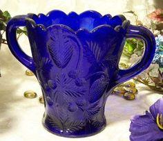 cobalt blue strawberry-imprinted vase