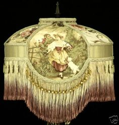 Gorgeous!! VICTORIAN LAMPSHADE RARE RED FRAGONARD TOILE Fabric