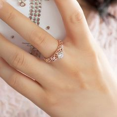 Vintage Rose Gold Plated with Swarovski Element 925 Sterling Silver Women's Ring Silver Rings Online, Gold Rings Jewelry, Sterling Silver Jewelry, Diamond Jewelry, Jewellery, Silver Necklaces, Jewelry Shop, Jewelry Making, Gold Bracelets