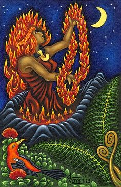 There are numerous and wonderful stories about Pele. Along with being Hawai'i's goddess of fire, she is also known for her passion, love and powers to create. Original Size: x Hawaiian Mythology, Hawaiian Goddess, Hawaiian Dancers, Hawaiian Art, Hawaiian Legends, Hawaiian Flower Tattoos, Tutu, Polynesian Art, Goddess Art