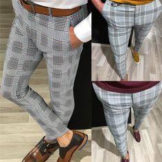 Plaid Skinny Hip Hop Pants NA01 – iawear Cargo Pants Men, Plaid Pants, Mens Trousers Casual, Casual Pants, Men Casual, Tactical Pants, Slim Fit Pants, Long Pants, Fashion Pants