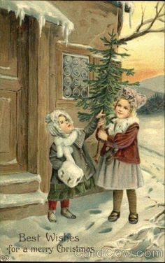 vintage Christmas postcard, Best Wishes for a Merry Christmas Old Time Christmas, Christmas Scenes, Old Fashioned Christmas, Christmas Past, Christmas Greetings, Christmas Girls, Christmas Postcards, Vintage Christmas Images, Victorian Christmas
