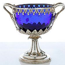 English Cobalt Blue glass candy dish