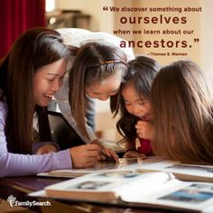 We discover something about ourselves when we learn about our ancestors. Thomas S. Monson #LDSConf