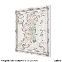 World map silhouette the kiss gustav klimt canvas print wrapped vintage map of ireland 1766 canvas print publicscrutiny Image collections