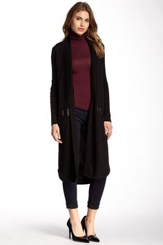Leather Panel Duster Sweater by Olivia M