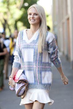 Kate Davidson Hudson preppy in a plaid dress w/ ruffle hem, Stella McCartney Falabella fold-over tote bag #StreetStyle