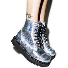 T.U.K. Mermaid Holographic 7 Eye Boot (£63) ❤ liked on Polyvore featuring shoes, boots, holographic shoes, t u k boots, holographic combat boots, lug sole boots and iridescent shoes