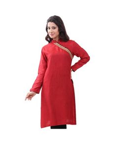 Vedanta Red Cotton Tussar Kurta #ohnineone