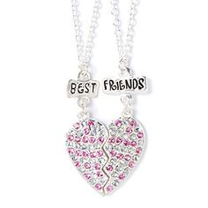 Best Friends necklaces w/ heart made with silver and pink rhinestones Cute Jewelry, Hair Jewelry, Women Jewelry, Best Friend Necklaces, Best Friend Jewelry, Heart Pendant Necklace, Dog Tag Necklace, Kid Toy Storage, Best Friends Forever