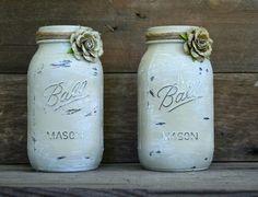 Home and Wedding Decor - Annie Sloan Chalk Paint, Distressed Mason Jar, Vase or Organization $18.00
