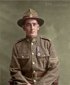 Sergeant Francis Barber MM, the New Zealand Army Medical Corps. April 1918.    The Military Medal was established, on 25 March 1916, to be awarded to non-commissioned soldiers for bravery in battle on land.  One of the decorated soldiers was Private F. Barber, service number 3/160 of the New Zealand Army Medical Corps