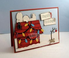 Snoopy is doing his part for the holidays!  This card is made using punch art, and details are provided for each part.  Have fun with this handmade Christmas card of Snoopy on his doghouse covered with lights - including the famous Charlie Brown tree!