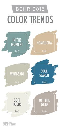 This gorgeous paint color palette is just a sampling of the BEHR 2018 Color Trends. With plenty of modern BEHR Paint hues like In The Moment, Kombucha, Wabi-Sabi, Soul Search, Soft Focus, and Off The Grid, you're sure to discover the perfect shade for your next home improvement project. Click here to see more.