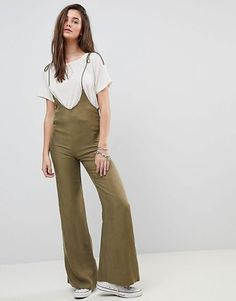 80a00e7e6ad Honey Punch Pinnafore Jumpsuit With Wide Leg Overalls