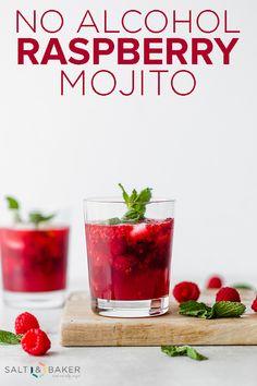 Raspberry Mojito Mocktail, this virgin mojito recipe is easy to make and so refreshing! #saltandbaker #mojito #mocktail #virgincocktail #raspberry #raspberries #easymojito