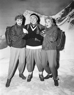 """Lucy with """"Fred & Ethel""""    On the set of the the 1956 """"I Love Lucy"""" episode titled, """"Lucy in the Swiss Alps"""
