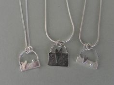 Trio of Necklaces. Sterling silver. Reticulated, textured, hammered. Handcrafted by Quench & Pickle.
