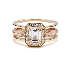 Attelage Emerald Cut Diamond Bridal Set
