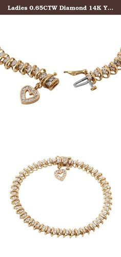 Ladies 0.65CTW Diamond 14K Yellow Gold Bracelet. Product Type: Bracelet Condition: New Gender: Ladies Country of Origin: US Setting Type: Prong+Channel Main Gemstone name: Diamond Main Gemstone color: H-I Main Gemstone clarity: SI1-SI3 Main Gemstone shape: Round Main Gemstone creation method: Natural Main Gemstone quantity: 115 Main Gemstone ctw: 0.65 Total carat weight: 0.65 Total weight (g): 11.3 Total length (in): 7 Total width (mm): 6 Clasp lock closure type: Box clasp Main material:...